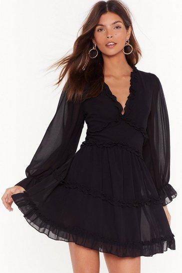 Black Drama Queen Ruffle Mini Dress
