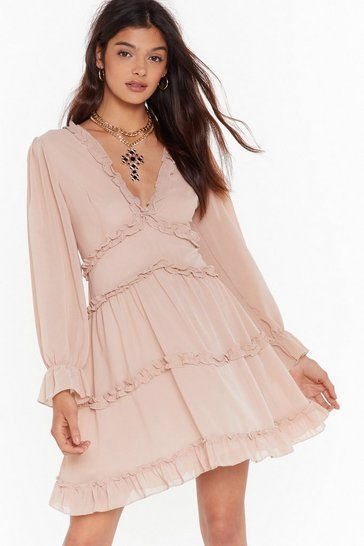 Womens Nude Drama Queen Ruffle Mini Dress