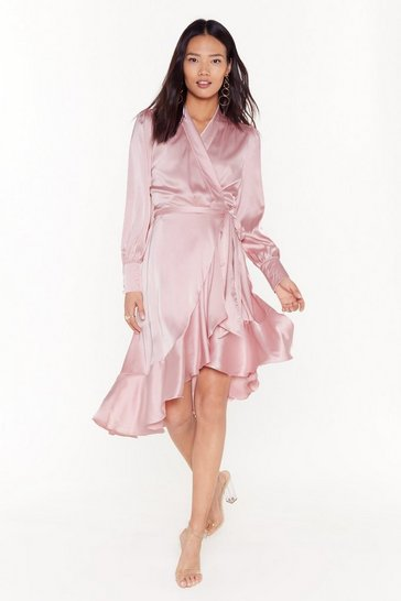 Womens Blush Dressed to Frill Ruffle Wrap Dress