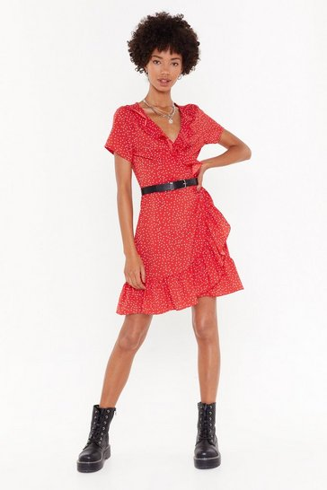 Red It's Dot Me Wrap Mini Dress