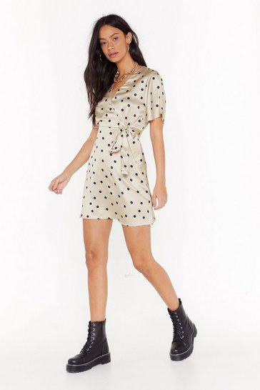 Beige Angel Aren't You Satin Polka Dot Dress
