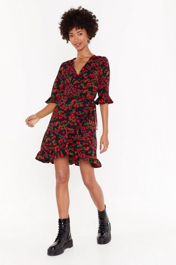 Womens Black Floral of a Kind Wrap Dress