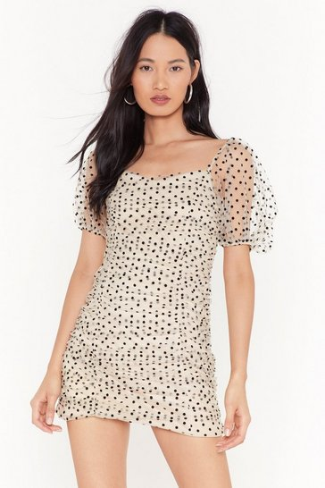 Womens White Ain't Got Dottin' On You Polka Dot Mini Dress
