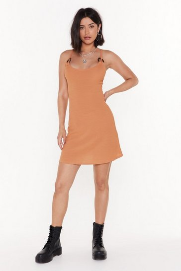 Womens Apricot Put O-ring on It Ribbed Mini Dress
