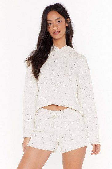 Womens Cream Fleck Knitted Hoody & Short Lounge Set