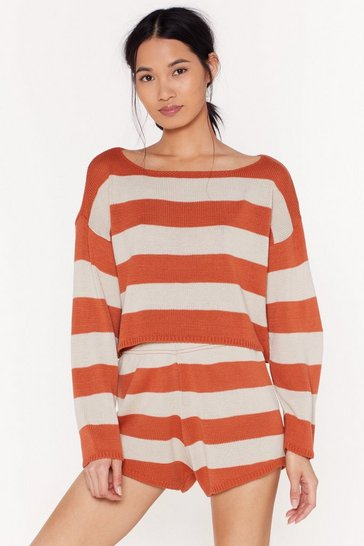 Womens Rust Knitted Stripe Sweater & Short Lounge Set