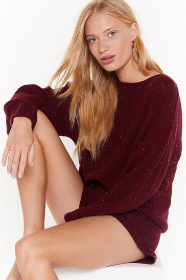Womens Burgundy Just How We Like Knit Slouchy Sweater and Shorts Set