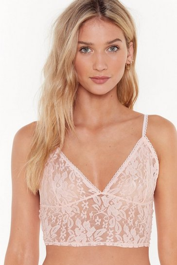 Womens Nude Soft Spot Lace Bralet