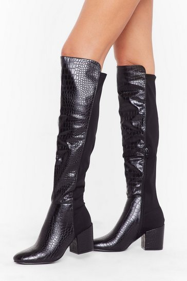Womens Black Faux croc stretch OTK boots