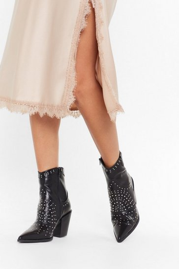 Black The Night Stud Still Faux Leather Ankle Boots