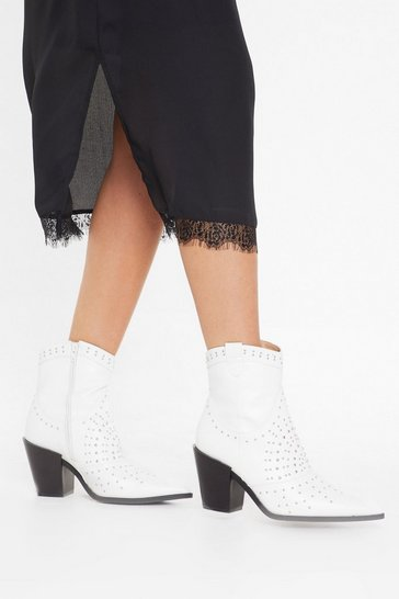 Womens White The Night Stud Still Faux Leather Ankle Boots