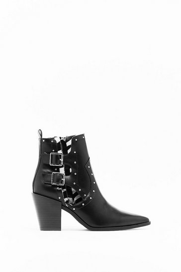 Womens Black Cut-Out Them Off Faux Leather Western Boots