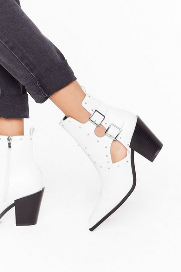 Womens White Cut-Out Them Off Faux Leather Western Boots