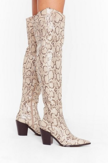 Womens Natural Snake It or Leave It Faux Leather Over-the-Knee Boots