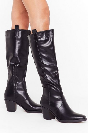 Womens Black Square the Night Faux Leather Knee High Boots