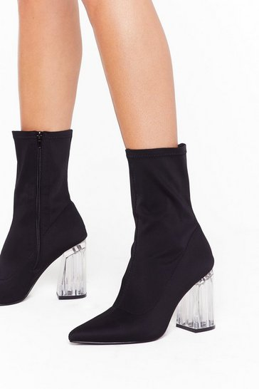 Womens Black Isn't It Clear Pointed Sock Boots