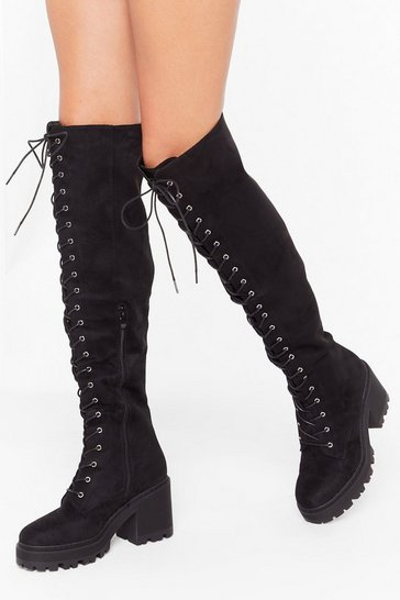 Womens Black Cover Your Tracks Faux Suede Over-the-Knee Boots