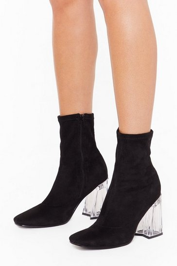 Womens Black In the Clear Faux Suede Sock Boots