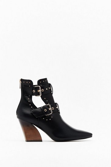 Black Learning Curve Faux Leather Cut-Out Boots
