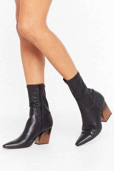 Womens Black Make Your Point Faux Leather Sock Boots