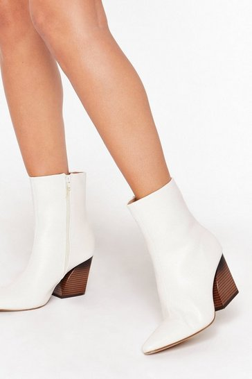 Womens White And Your Point is Faux Leather Curve Heel Boots