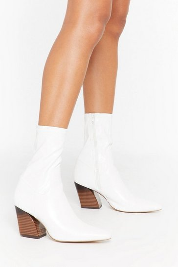 White Come to the Point Faux Leather Curve Heel Boots
