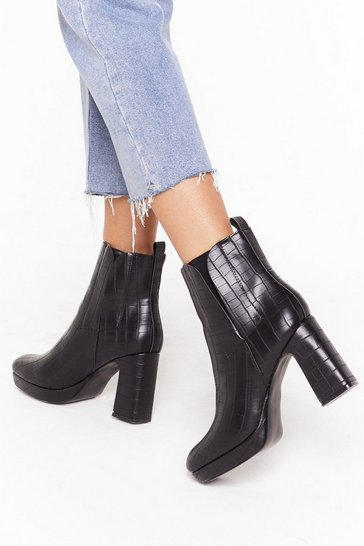 Black Croc It Off Faux Leather Block Heel Boots