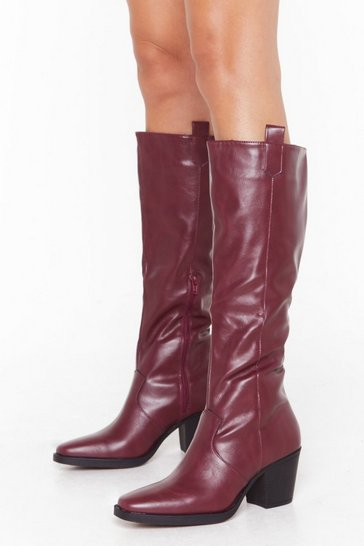 Womens Burgundy Pu high leg cowboy boots