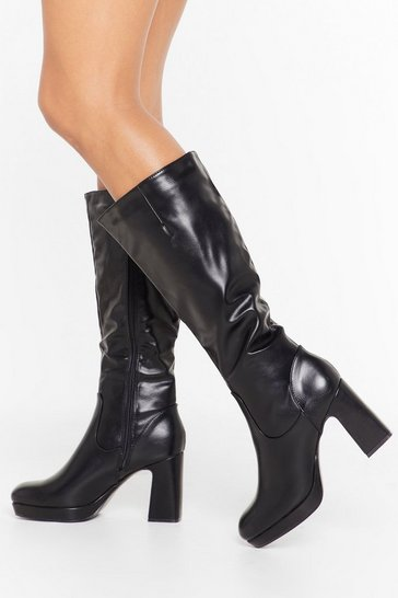 Womens Black Heel the Beat Faux Leather Knee High Boots