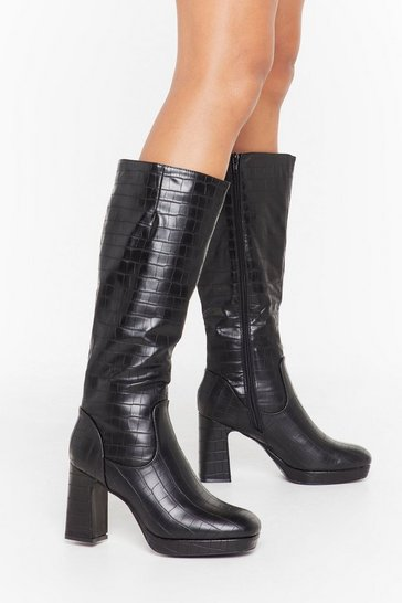 Womens Black We Will Croc You Faux Leather Knee-High Boots
