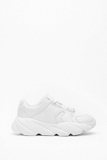 Womens White Sneak Out Chunky Faux Leather Sneaker
