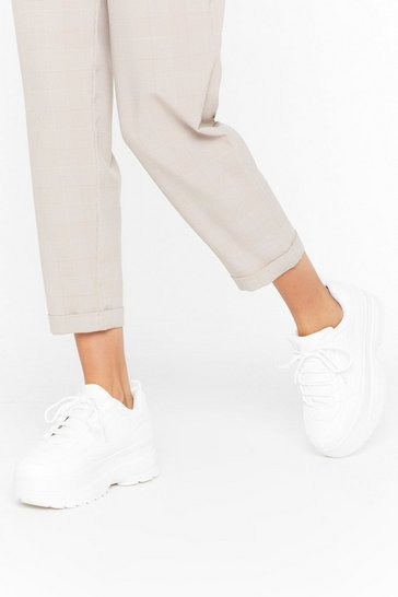 Womens White In It For the Long Run Chunky Trainers