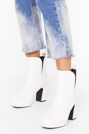 White PU Covered Gusset Platform Chelsea Boot