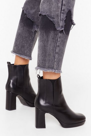 Black Heel the Love Faux Leather Boots