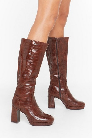 Womens Brown We Will Croc You Faux Leather Knee-High Boots