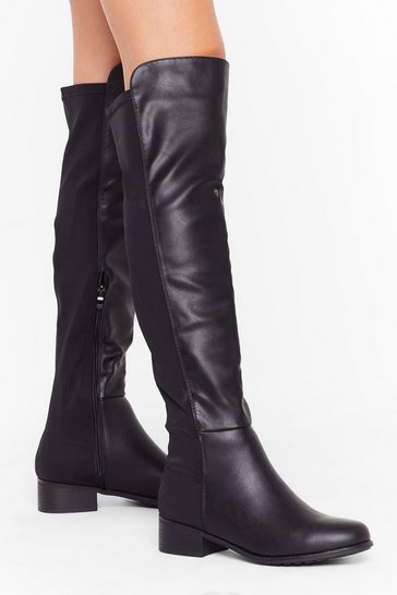 Womens Black Walk Right In Faux Leather Over-the-Knee Boots