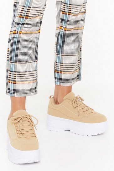 Womens Sand On Top Platform Faux Suede Sneakers