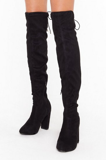 Suede Out Late Faux Suede Over-the-Knee Boots, Black, FEMMES