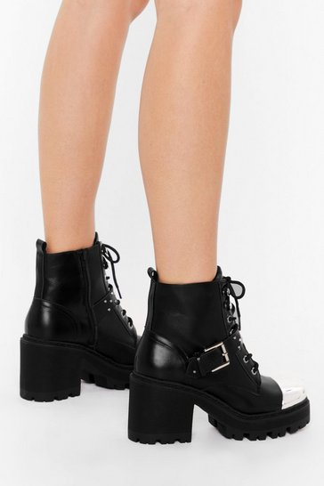 Black All Toe-gether Now Chunky Faux Leather Boots