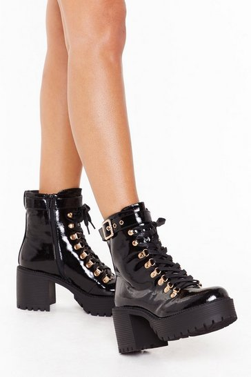 Black Shake Your Booty Patent Faux Leather Lace-Up Boots