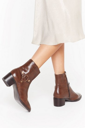 Womens Brown O-Ring It Faux Leather Harness Boots