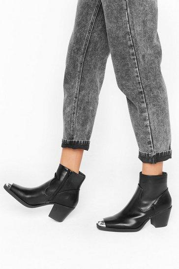 Black Kickstart My Heart Faux Leather Western Boots