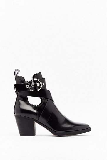 Womens Black Box PU Cut Out Buckle Biker Boot