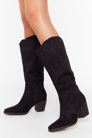 Womens Black She's the West Faux Suede Western Boots
