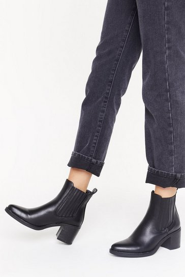 Black Walk All Over You  Faux Leather Chelsea Boots