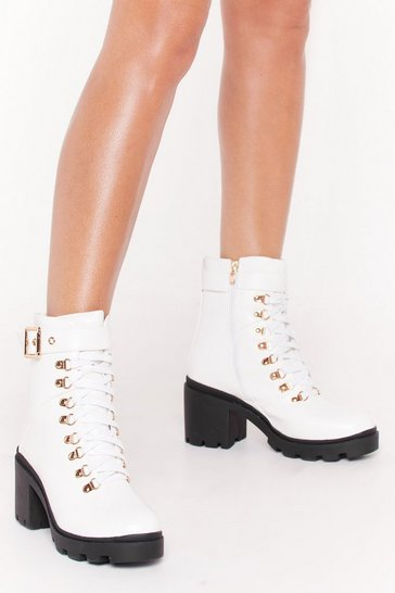 Womens White Unde-cleated Champ Lace-Up Hiker Boots