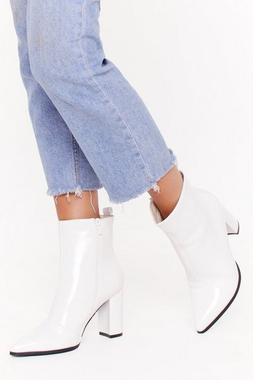 Womens White No Point to Prove Faux Leather Boots