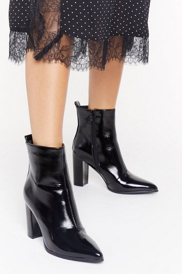 Womens Black No Point to Prove Patent Faux Leather Boots