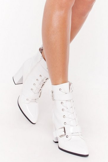 Womens White Point It Out Buckle Heeled Boots