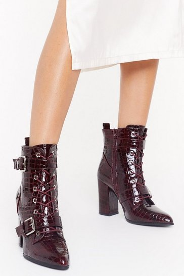 Womens Burgundy Point It Out Buckle Heeled Boots